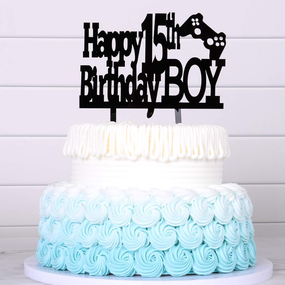 Incredible Happy 15Th Birthday Cake Topper Boy Boy Game Cake Topper Balck Personalised Birthday Cards Paralily Jamesorg