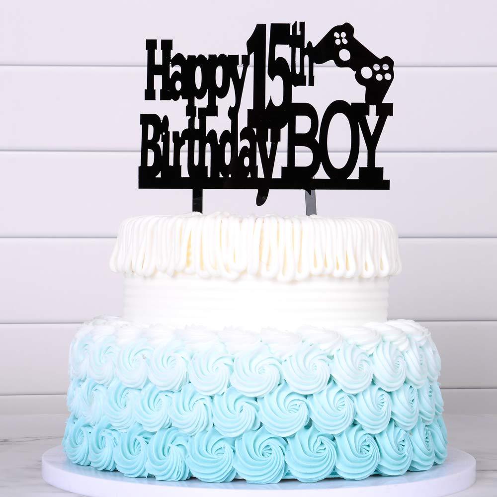 Pleasant Happy 15Th Birthday Cake Topper Boy Boy Game Cake Topper Balck Funny Birthday Cards Online Alyptdamsfinfo