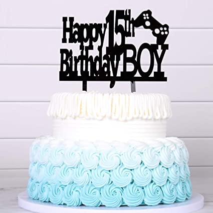 Birthday Cake For Boys.Happy 15th Birthday Cake Topper Boy Boy Game Cake Topper