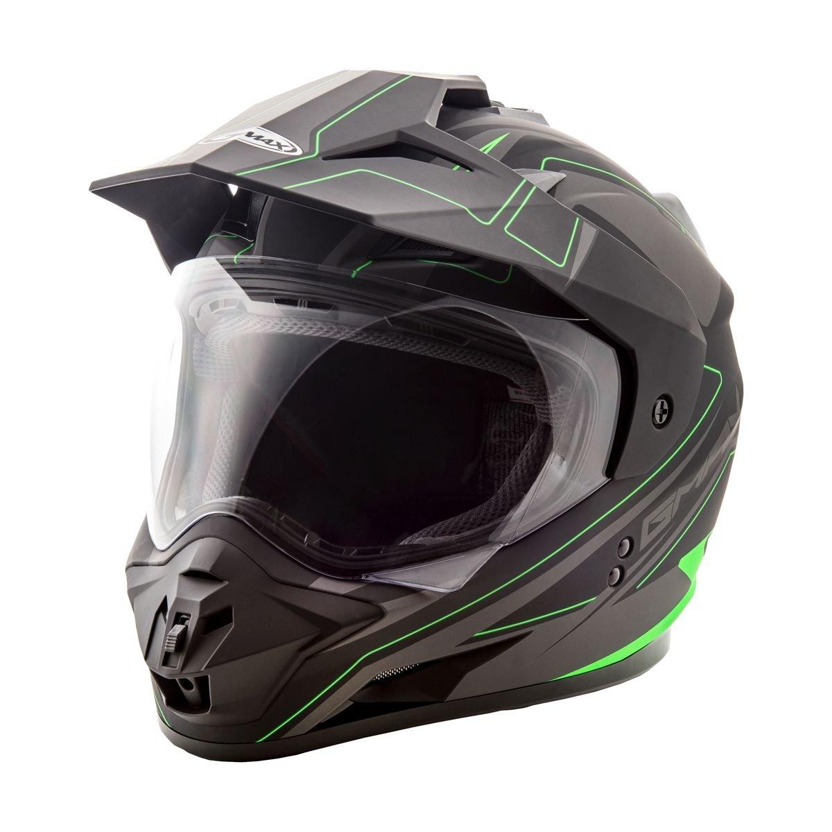 GMax GM11D Expedition Matte Black/Hi-Viz Green Dual Sport Helmet - Large