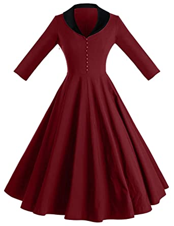 8f9dcabaeb8a GownTown Womens 1950s Cape Collar Vintage Swing Stretchy Dresses, Red, Small