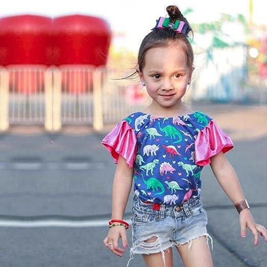 77c7a7c2a Amazon.com: Vincent&July Girls Clothes Toddler Baby Girls Dinosaur Heart  Cartoon Ruffles Tops+Denim Shorts Pants Outfits Summer Sets: Clothing