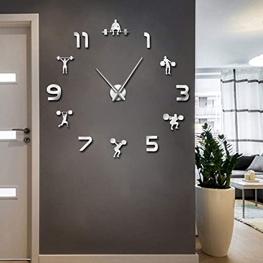Amazon Com Weightlifting Fitness Room Wall Decor Diy Giant Wall Clock Mirror Effect Powerlifting Frameless Large Wall Clock Gym Wall Watch Silver Kitchen Dining