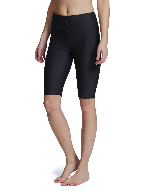 Baleaf Women's Long Board Shorts High Waisted Swim Shorts Sun Protection Bikini Bottom Black Size XL by Baleaf (Image #1)