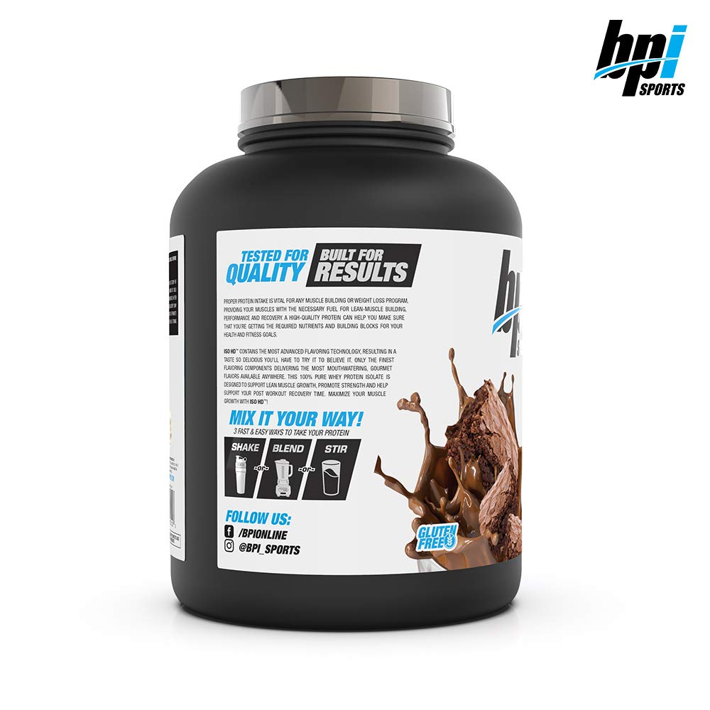 BPI Sports ISO HD 100% Protein Isolate & Hydrolysate, Chocolate Brownie, 5.4 Pound by BPI Sports (Image #3)