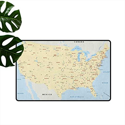 Amazon.com : Map, Machine Washable Small Rug United States ... on us interstate maps with states and cities, highway map of usa with states and cities, united states highways,