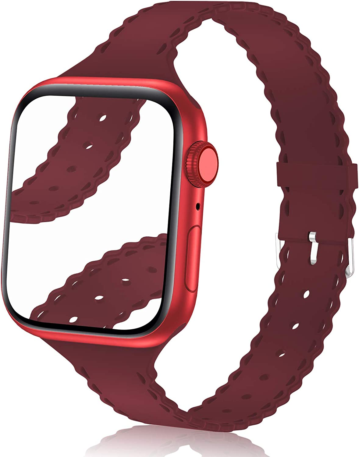 Bandiction Compatible with Apple Watch Bands 38mm 40mm Women Slim Thin iWatch Bands 38mm 40mm Soft Silicone Sport Band Narrow Watch Strap Compatible for Apple Watch SE Series 6 5 4 3 2 1, Burgundy