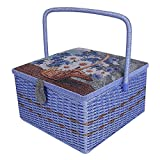 Crafts Sewing Storage Box Containers Extra Large Double Layer with Tray,Handmade Embroidery Sewing Basket Best Gift for Mother,12.8''x 12.8''x 6.3''