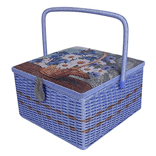 SAXTX Crafts Sewing Storage Box Containers Extra Large Double Layer with Tray,Handmade Embroidery Sewing Basket with Multiple Compartments| Best Gift Boxes for Mother,13.4