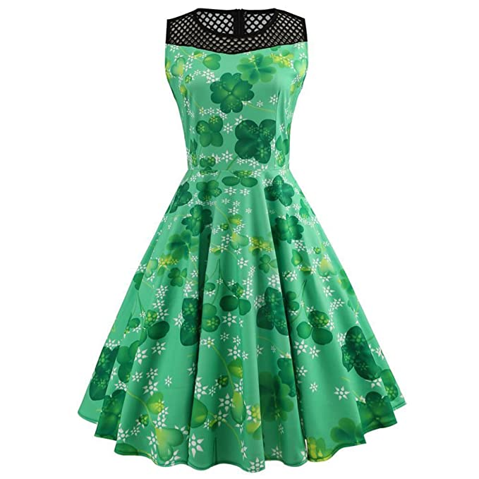 iBaste Mangas Vintage Vestidos Fiesta Mujer Día de San Patricio Trébol Estampa Verde Dress Rockabilly Clásico