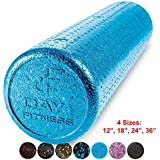 Day 1 Fitness High Density Muscle Foam Rollers by Sports Massage Rollers for Stretching, Physical Therapy, Deep Tissue and Myofascial Release - For Exercise and Pain Relief – Solid Blue, 24""