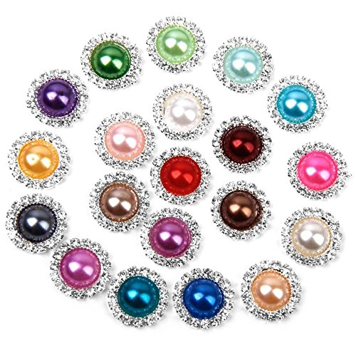 FQTANJU 20 Pieces Diameter 15mm Round Rhinestone Mixed Color Faux Pearl Glue On Flat Back