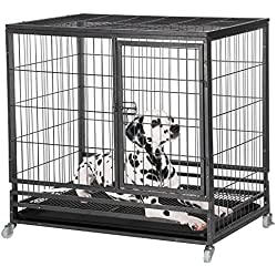 Yaheetech Heavy Duty Extra Large Dog Cages and Crates on Wheels for Large and Medium Small Dogs w/Feeding Door