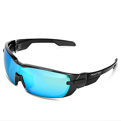 7d5cb0c60ae Moofee Polarized Sports Sunglasses with Rotatable Legs and 3  interchangeable Lenses Outdoor Glasses for Men Women