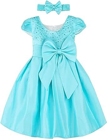A&J DESIGN Baby Girls' Wedding Party Princess Rhinestone Dress with Headband