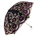 Honeystore Wedding Lace Sun UV Parasol 2 Folding 3D Flower Embroidery Umbrella Black