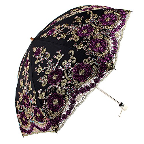 Honeystore Wedding Lace Sun UV Parasol 2 Folding 3D Flower Embroidery Umbrella Black -