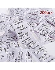 Matedepreso 200 Confezioni Non Tossico Gel di Silice Essiccante Umido Assorbi umidità Deumidificatore per Camera Cucina Auto Vestiti Conservazione Alimenti Asciugatrice (3 4cmWhite) - Bianco, 3 4cm