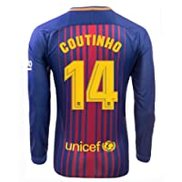 MephosDmme 2017/2018 Barcelona coutinho 14 Home Long Sleeve Jersey Men's Color Blue Size S