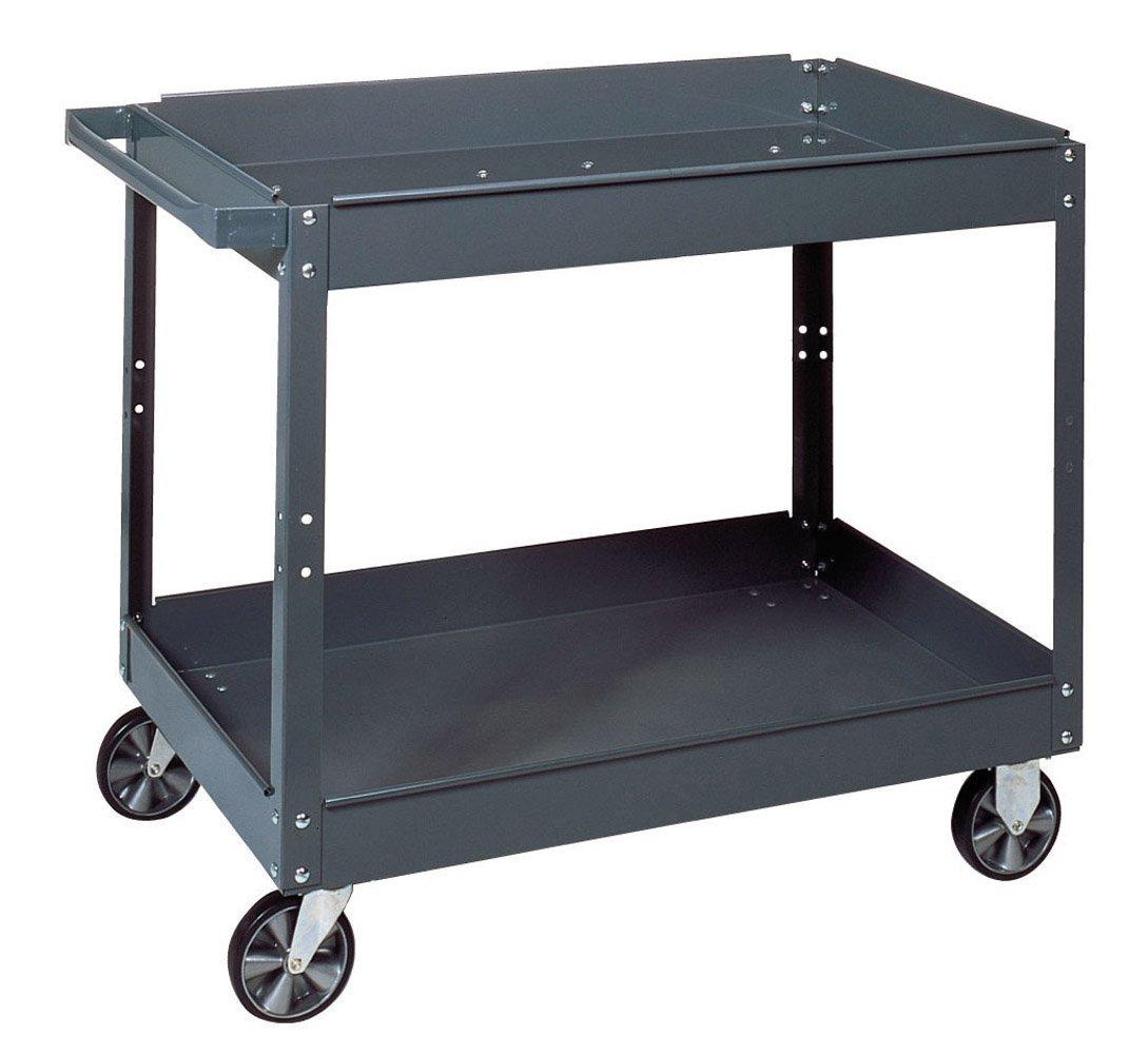 Edsal SC2024 Industrial Gray Commercial Service Cart, Steel, 500lbs Capacity, 24'' Width x 32'' Height x 36'' Depth, 2 Shelves