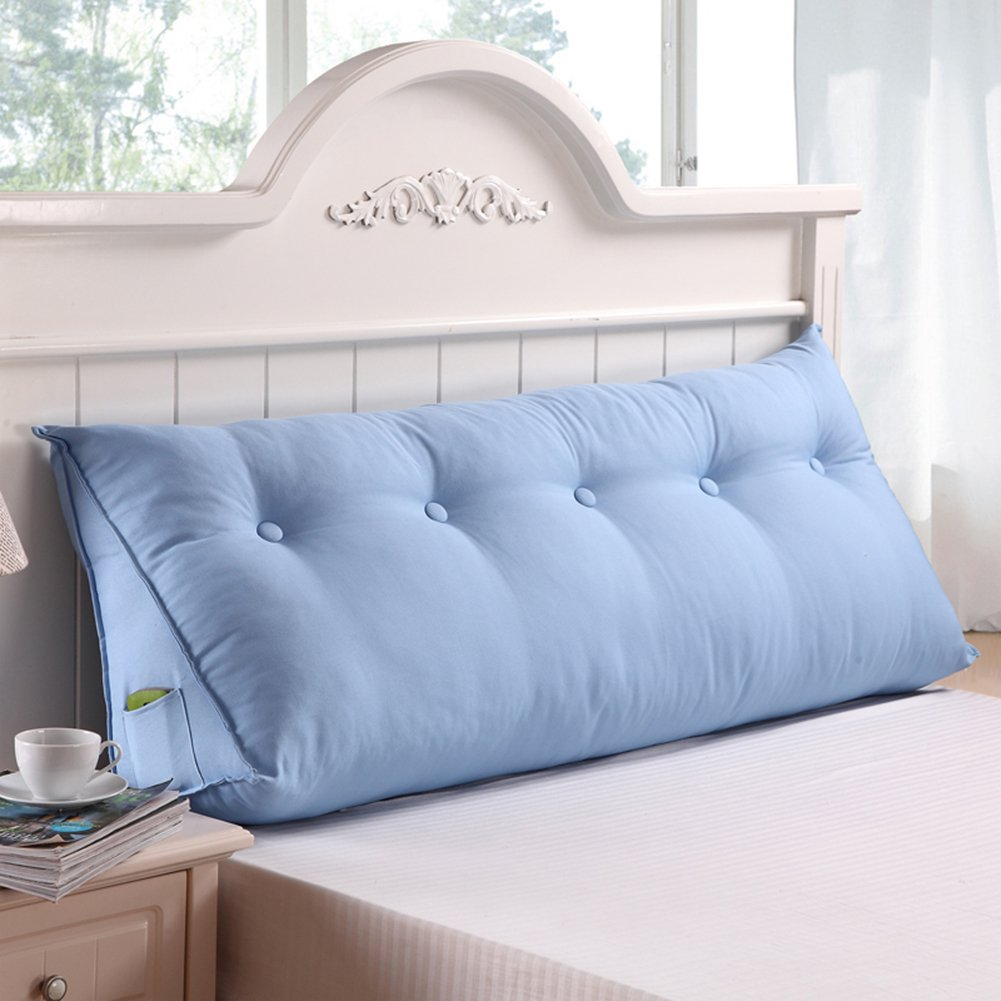 General Vercart Sofa Bed Large Upholstered Headboard Filled Triangular Wedge Cushion Bed Backrest Positioning Support Pillow Reading Pillow Office Lumbar Pad with Removable Cover Sky Blue 59 Inches