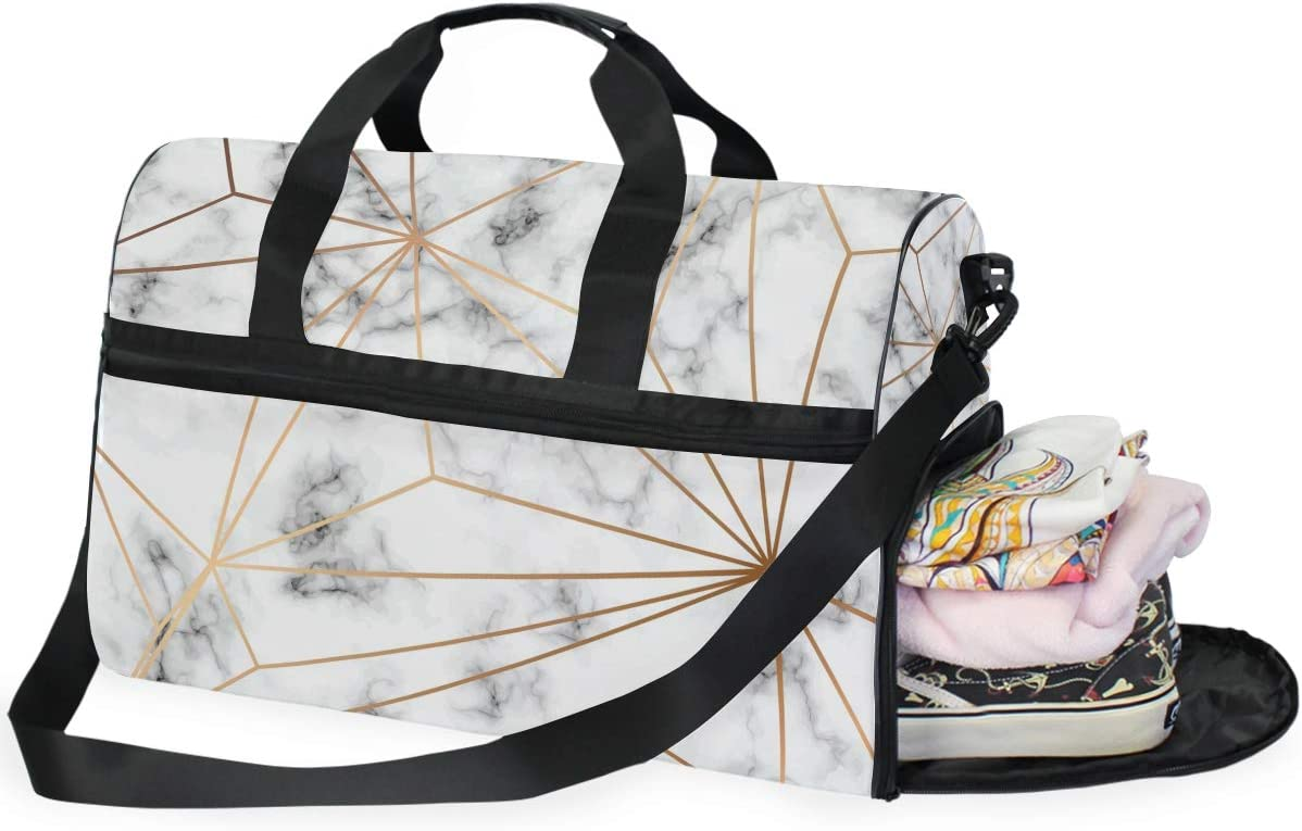 TFONE Abstract Art White Marble Duffel Bag Sports Gym Weekend Bags with Shoe Compartmen