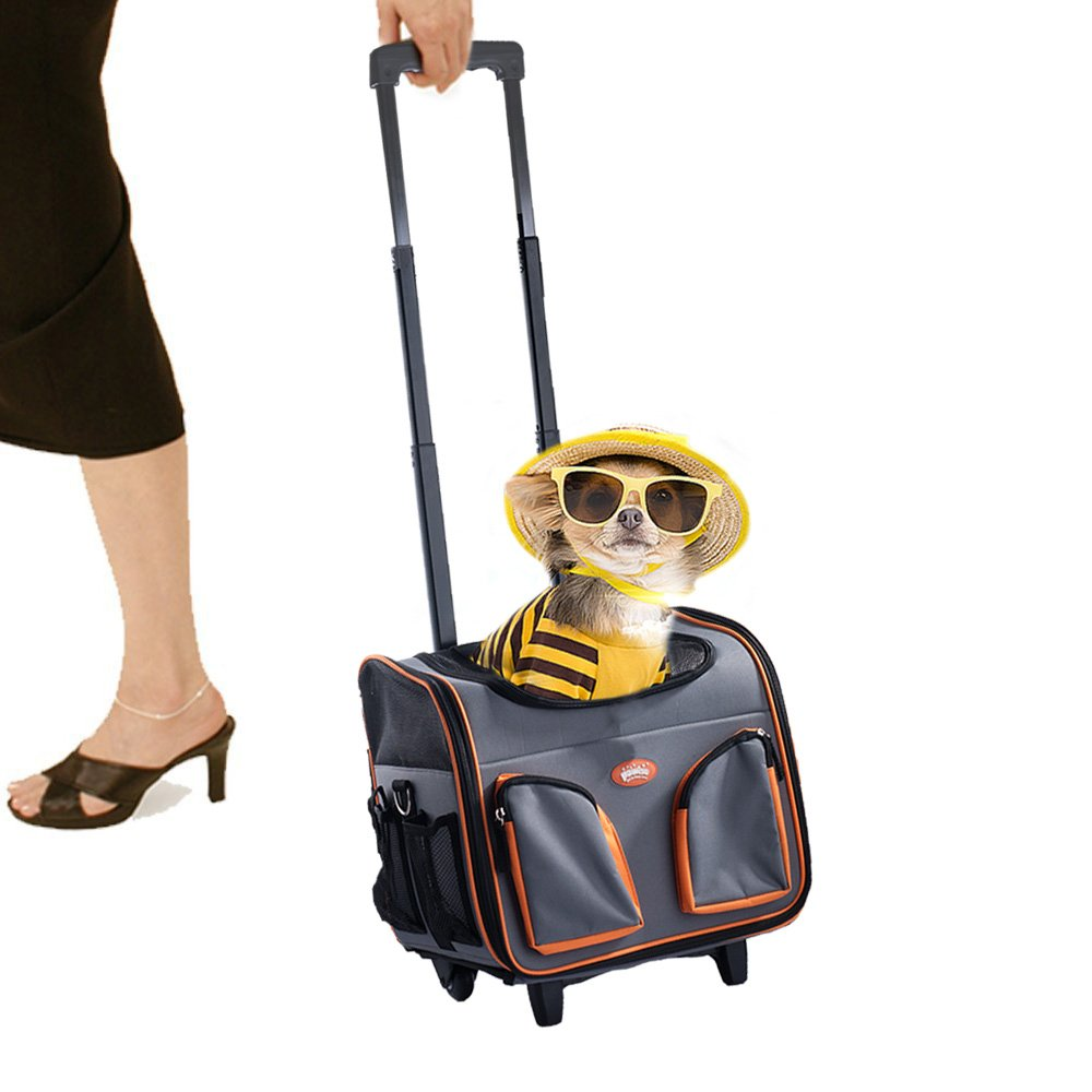 PAWISE Pet Trolley Bag Rolling Pet Travel Carrier Pet Carrier with Wheels by PAWISE