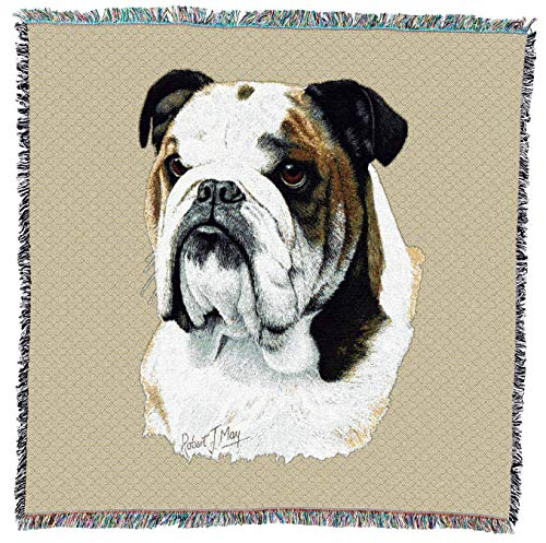 Pure Country Weavers - Bulldog Woven Throw Blanket with Fringe Cotton. USA Size 54x54