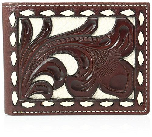Nocona Belt Co. Men's Nocona Floral Bone Buck Inlay Bifold, Tan, One Size