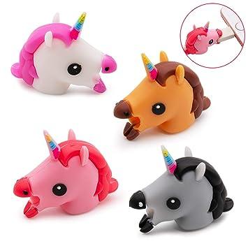 SPECOOL Juego de 4 Piezas de Puntas de Cable de Unicornio, diseño de Huesos de Animales, protección para Todos los Tipos de teléfono y Cargador.