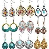 hefanny 9 Pairs Boho Jewelry Vintage Leaf Acrylic Resin Minimalist Drop Dangle Earrings Bohemian Statement Hoop Earrings Set for Women Girls