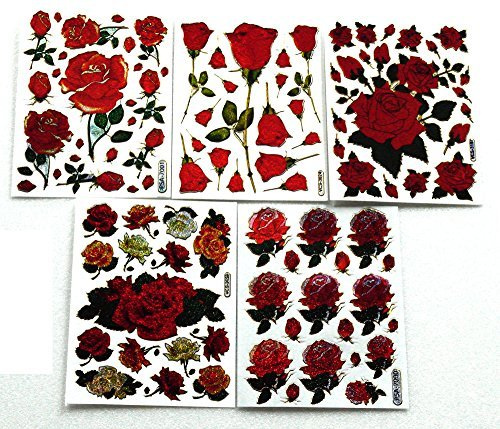 Rose001 - 5 Sheets of Red Rose Stickers - Rose Scrapbook Stickers - Reflective Stickers- Size 4 x 5.25 Inch./Sheet
