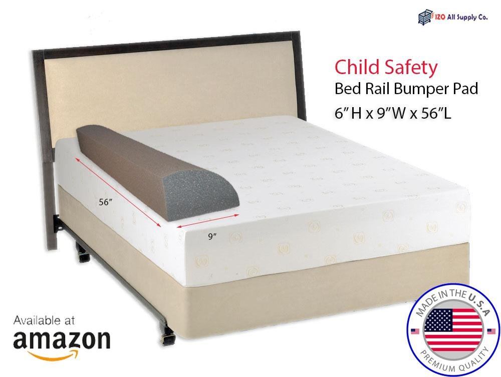 Child Bed Safety Guard Rail Bumper Pad for Toddler Safety, 6'' H x 9'' W x 56'' L