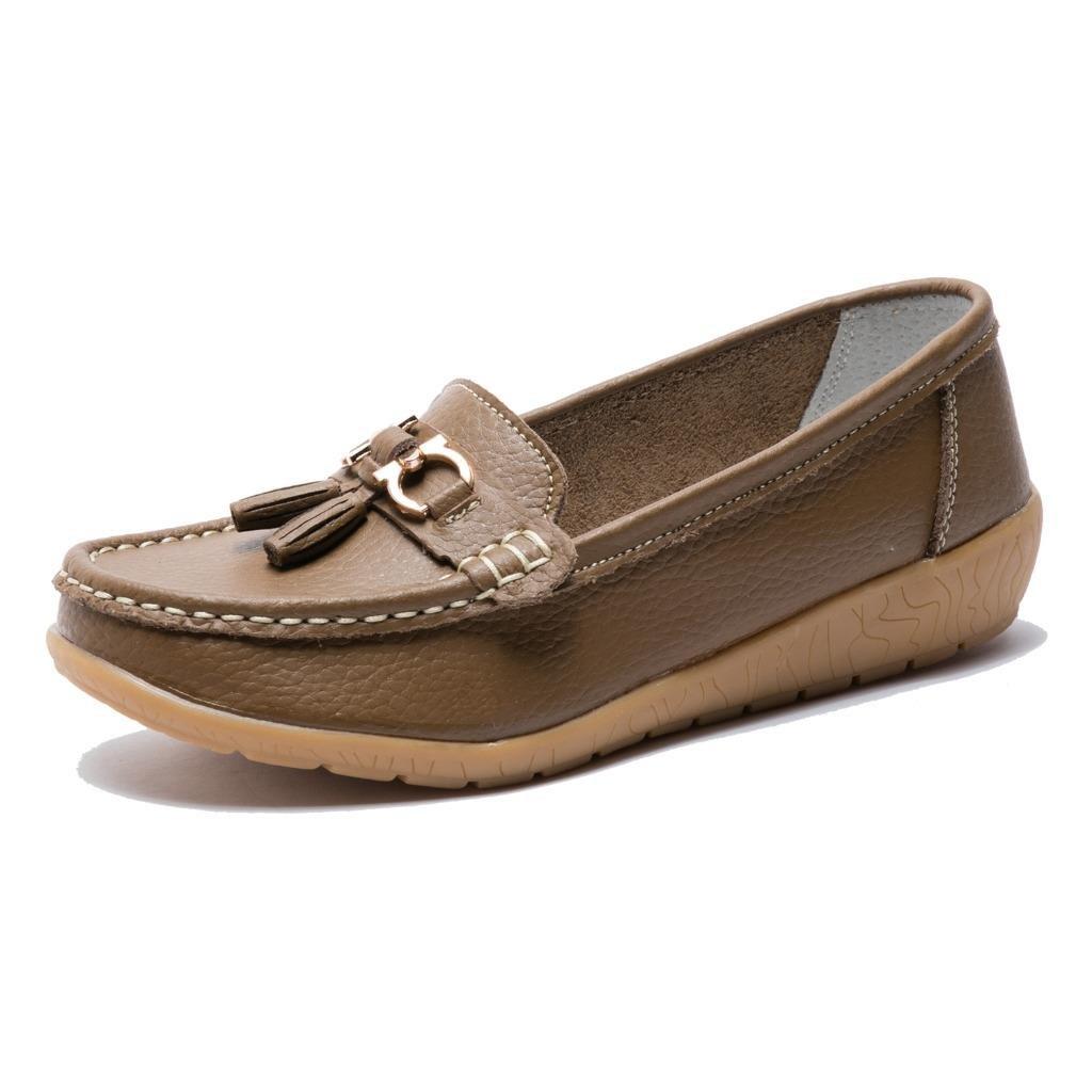 Moonwalker Women's Leather Slip-on Comfort Tassel Loafers Moccasins (4 D(M) US,Brown)
