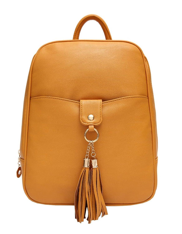 Sakper Women's PU Leather Tassel Backpack Schoolbag Purse College Bag