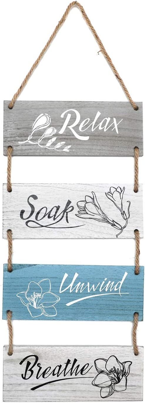 Homazing Farmhouse Bathroom Wall Decor - Funny Rustic Bathroom Wall Art, Relax Soak Unwind Breathe Rustic Bathroom Wood Sign, Hanging Wood Wall Decoration, Farmhouse Bathroom Accessories