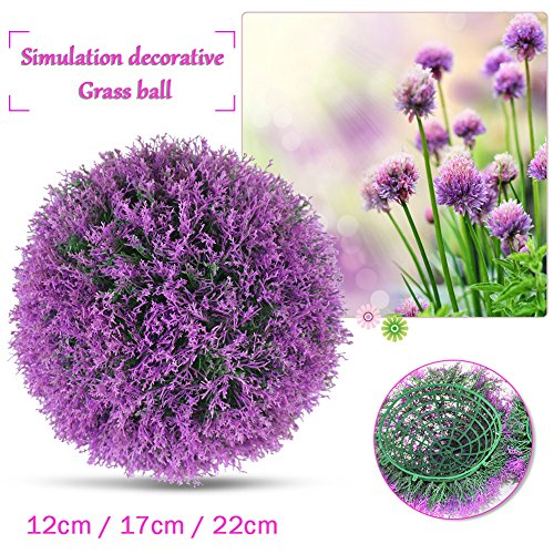 Yunhigh Boxwood Topiary Ball Artificial Plant Ball Decorative Simulation Grass Ball Lavender Purple Indoor Outdoor Centerpiece for Wedding Christmas Home Decor(2pcs, 17cm)