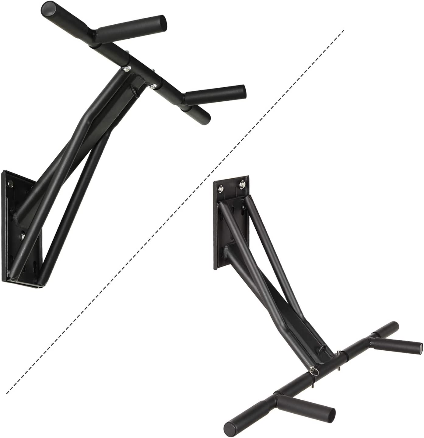 Wall Mounted Home G-ym Chin Draw Chin Up Bar Core Power Tower Dip Station for Men Women Pulls Push Ab Workout MINIKID 【US Fast Shipment】 Pull Up Bar for Doorway Chin Up Bar Black