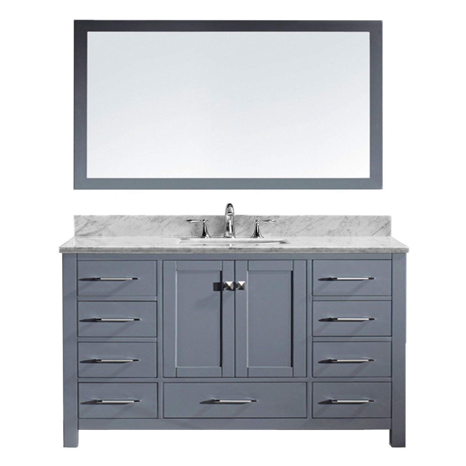 Virtu USA GS-50060-Wmsq-GR Caroline Avenue Single Bathroom Vanity with Marble Top/Square Sink with Mirror, 60'', Grey by Virtu USA