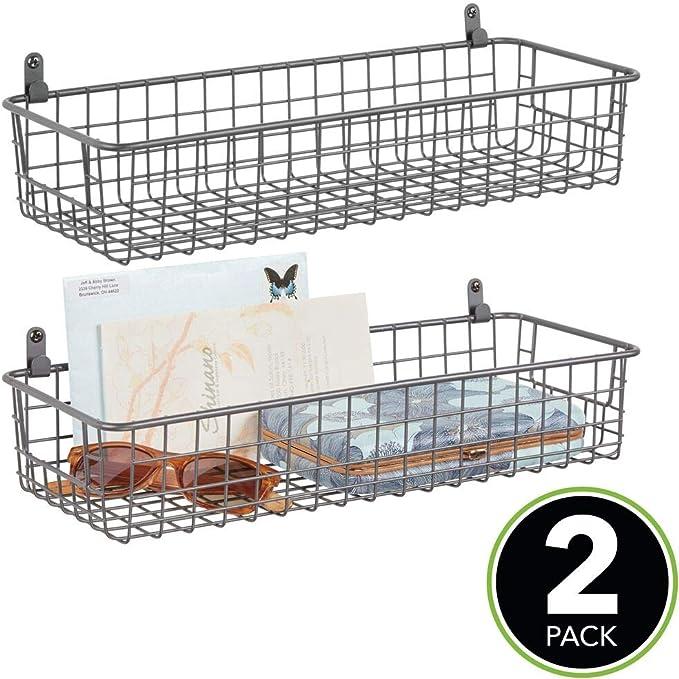 mDesign K/üchenregal zum Einh/ängen K/üchenablage f/ür die Schrankt/ür zur Aufbewahrung von Schneidebrettern Kochb/üchern etc praktischer Ordnungshelfer f/ür die K/üche bronzefarben