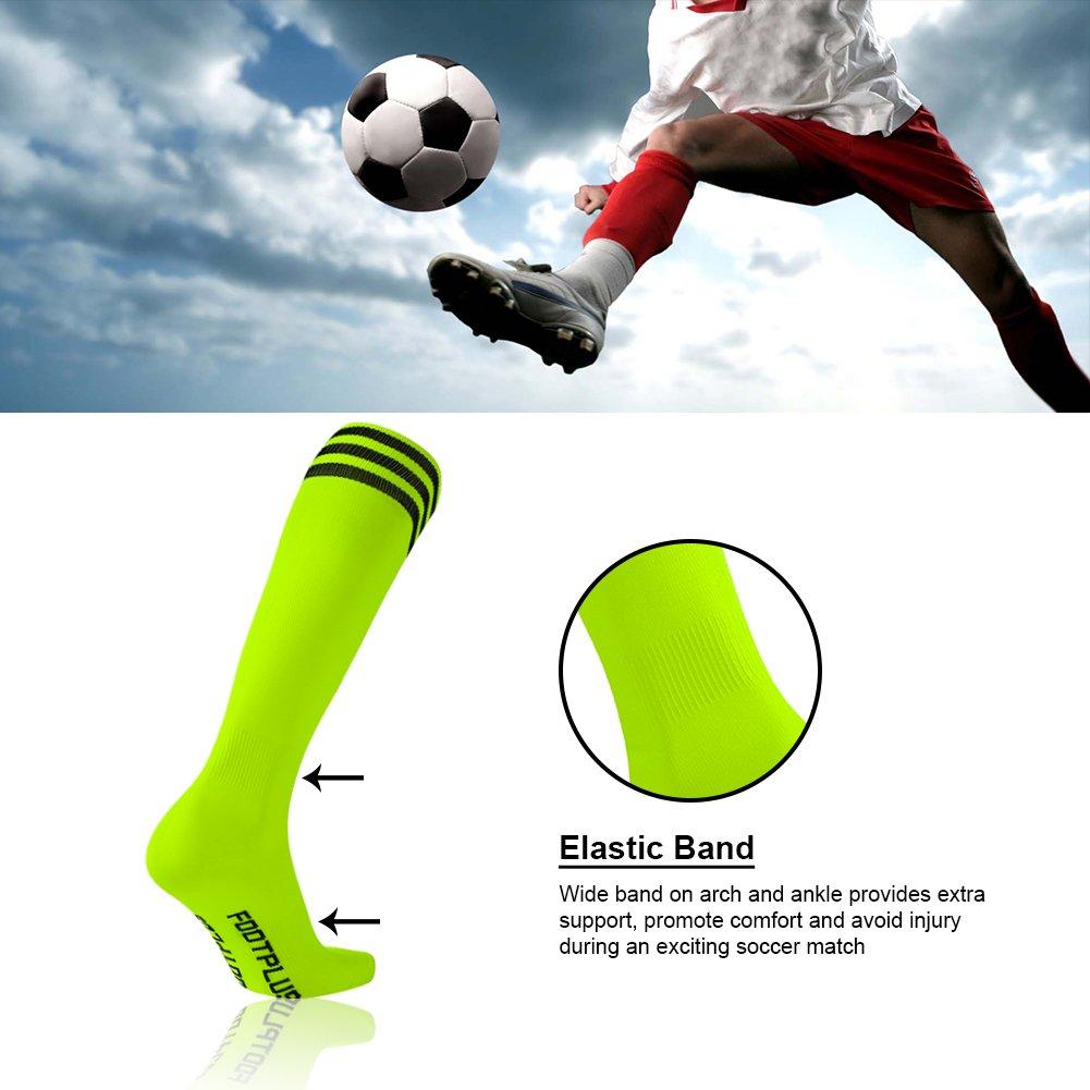 2//6//10 Pairs FP0006-1 Soccer Socks FOOTPLUS Unisex Knee High Triple Stripe Football Socks