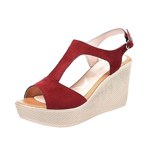 Igemy Sommer Dame Sandalen Frauen Gealterte Flache Mode Schnalle Sandalen Komfortable Damen Lederschuhe