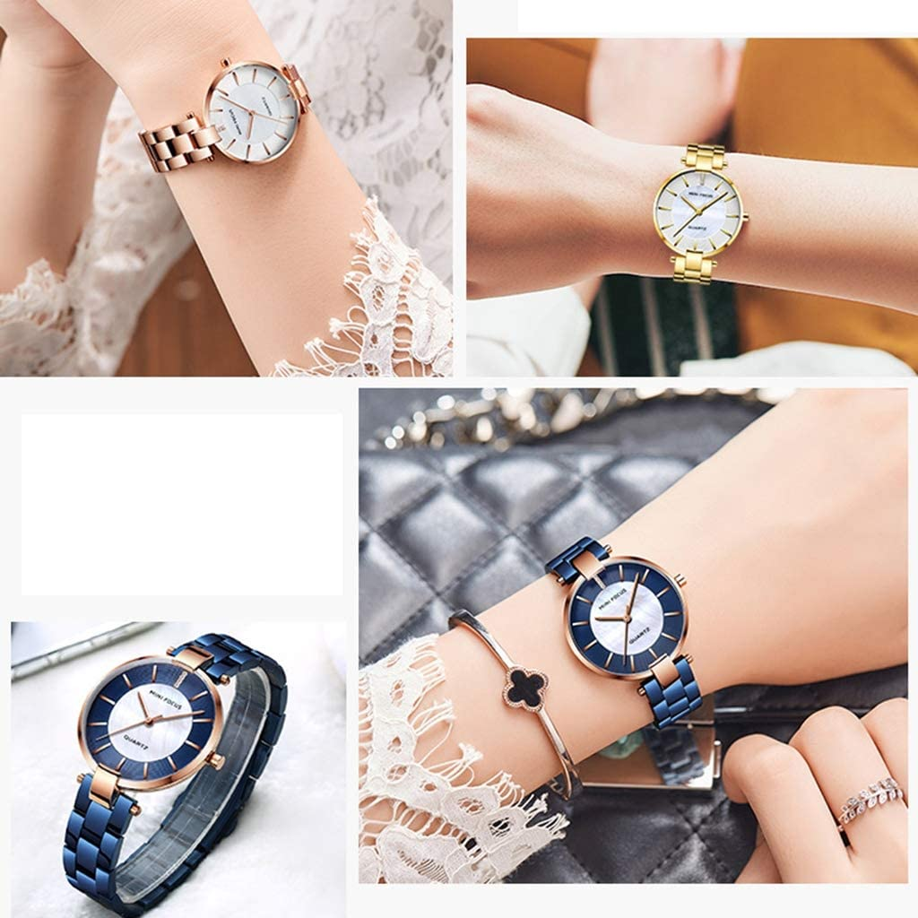 AOUWMM Montre-Bracelet pour Femme en Acier, Quartz, Diamants de Mode numérique, Montres étanches pour Dames, Bleu, Or, Noir, Rose, Rouge Metallic