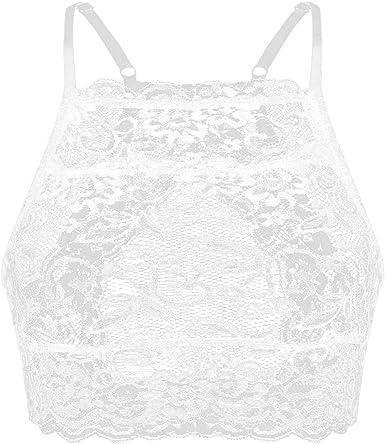 IEFIEL Mujeres Sujetador de Encaje Crop Tops Correa Chaleco Blusa de Corte Camisa Lingerie Bikini Transparente Sujetadores Top: Amazon.es: Ropa y accesorios