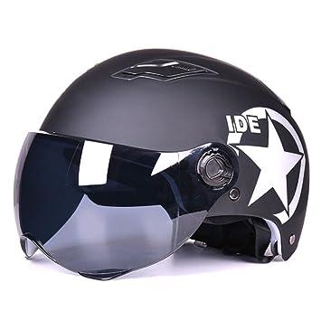 MATEROP Casco de la Motocicleta Medio Rostro Abierto Casco de Protección de Tamaño Ajustable Cascos de
