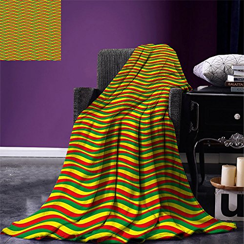 smallbeefly Rasta Custom Design Cozy Flannel Blanket Vivid Colors Ethiopian African Flag Colors in Wavy Style Stripes Image Lightweight Blanket Extra Big Marigold Green and Red (Rasta Big Stripes)