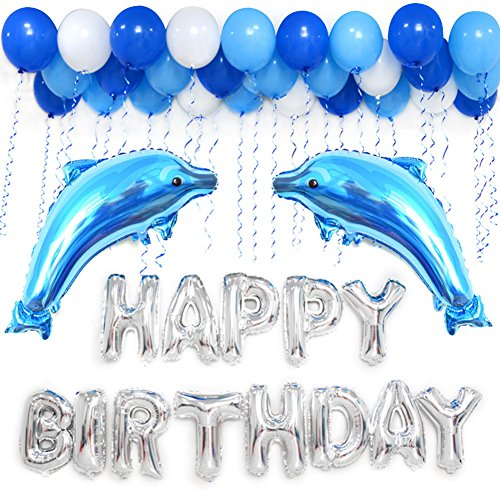 ons Decoration Kits, Blue Ocean Themed Dolphin Balloons for Birthday Party Supplies 63 PACK (Happy Dolphin)
