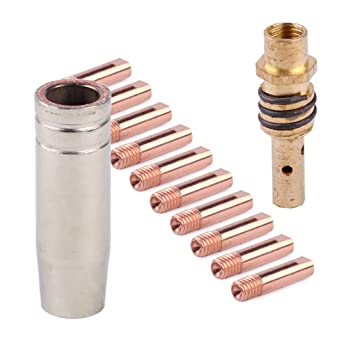 eastar 12 unids MB 15AK MIG/mag Punta de Contacto de soplete de Soldadura 0.8 x 25 mm M6 Kit de Soporte de Boquilla para Boquilla de Gas: Amazon.es: Hogar