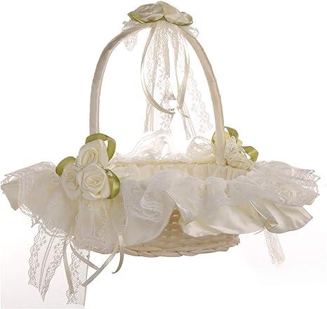 Sprinkle flowers Jute 2x Flower Girl Basket Wedding Vintage-Boho Flower Girl/'s Basket Old pink lace Sud baskets Baskets