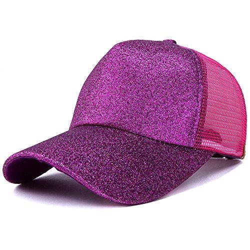 add19f28cd0d3 WGIA Ponytail Baseball Cap Glitter Mesh Ponycap Shiny Messy Bun Snapback  Adjustable Sun Hat for Women
